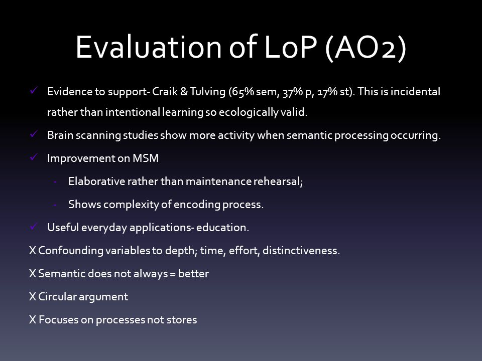 Evaluation of LoP (AO2)
