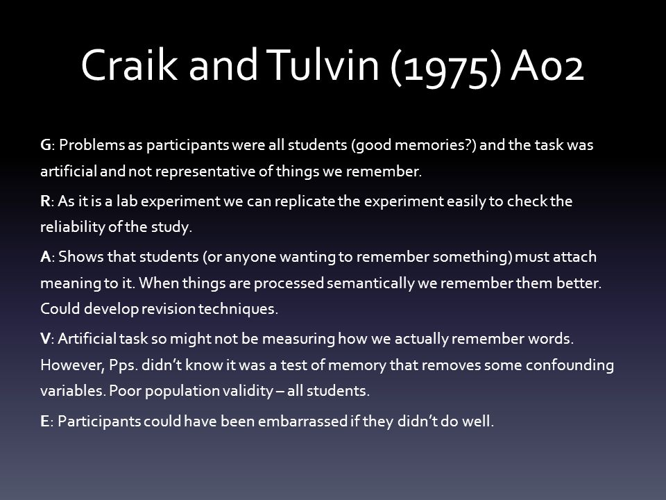 Craik and Tulvin (1975) A02