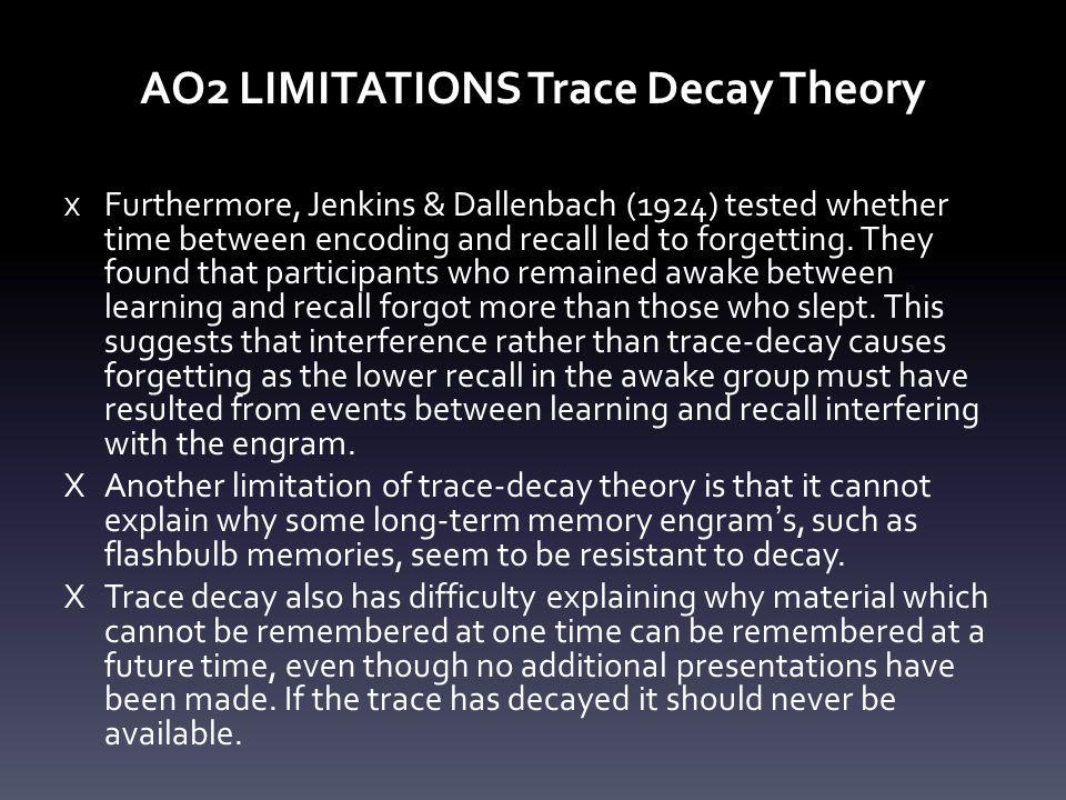 AO2 LIMITATIONS Trace Decay Theory