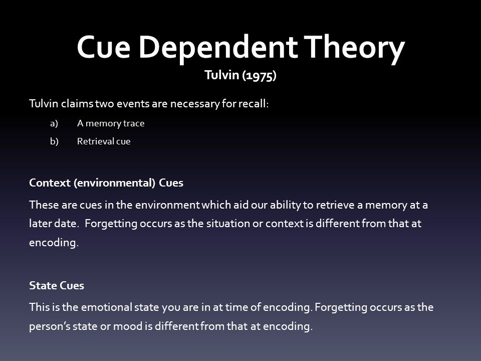 Cue Dependent Theory Tulvin (1975)