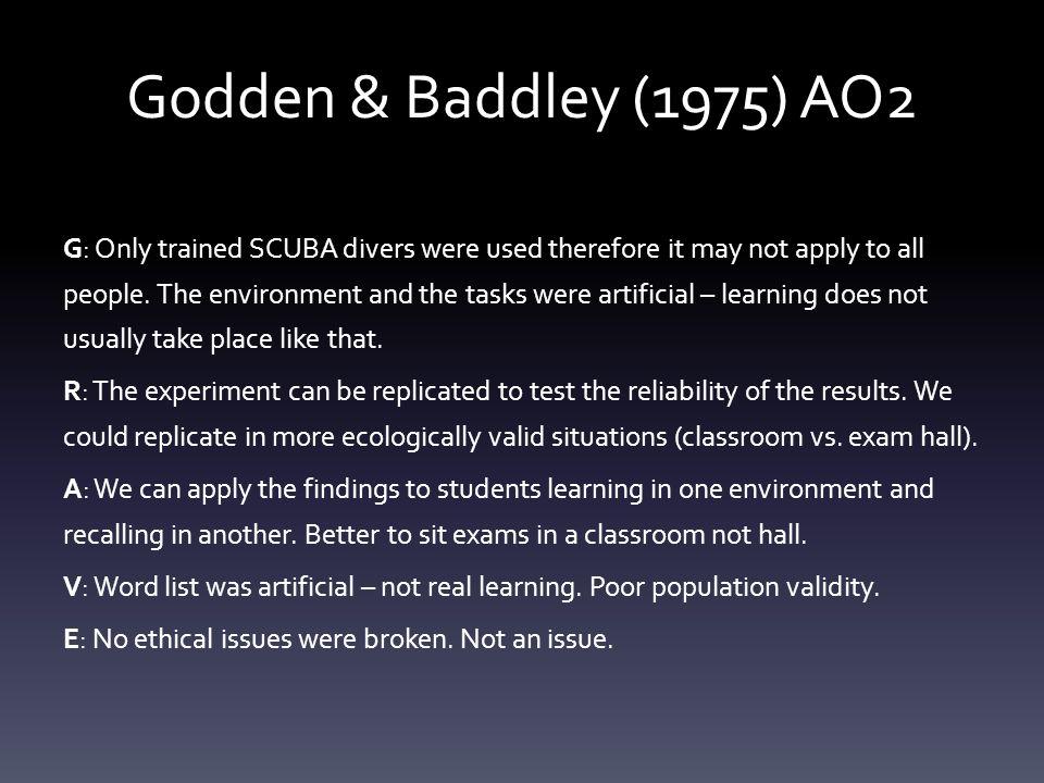 Godden & Baddley (1975) AO2