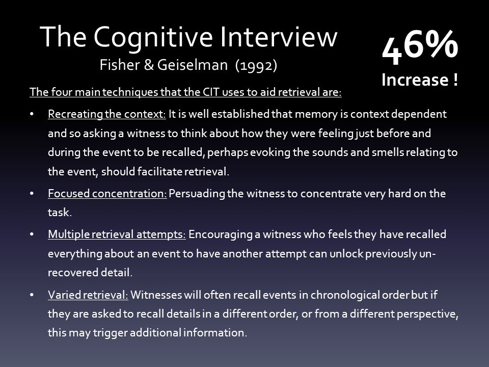 The Cognitive Interview Fisher & Geiselman (1992)