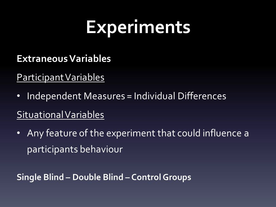 Experiments Extraneous Variables Participant Variables