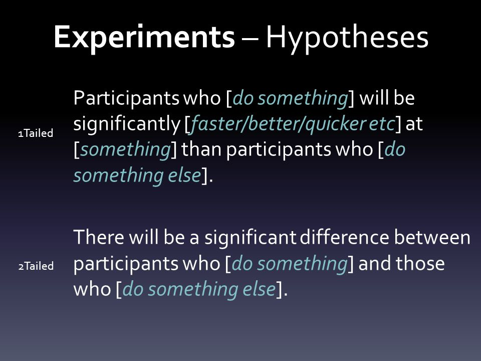 Experiments – Hypotheses