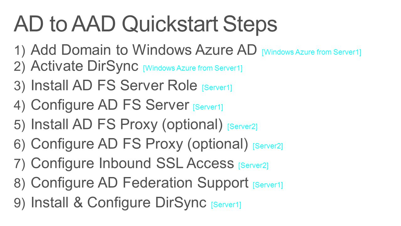 AD to AAD Quickstart Steps
