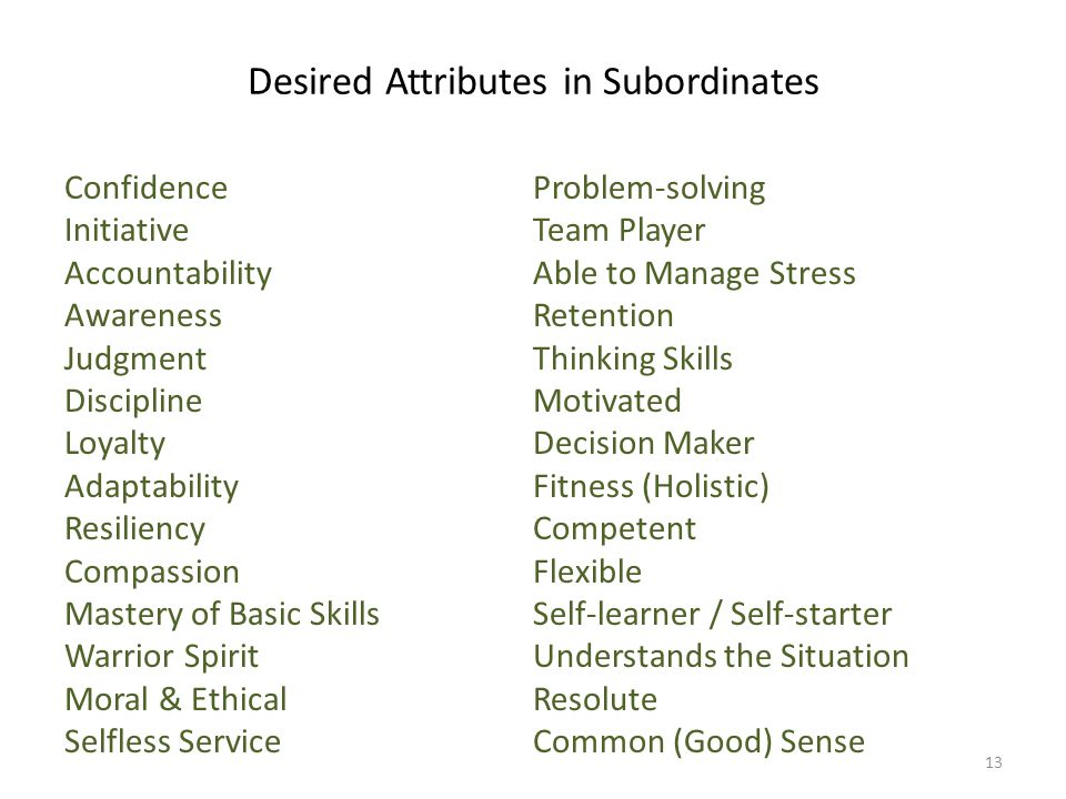 Desired Attributes in Subordinates