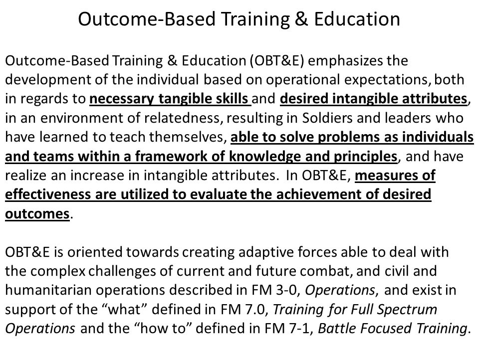 Outcome-Based Training & Education