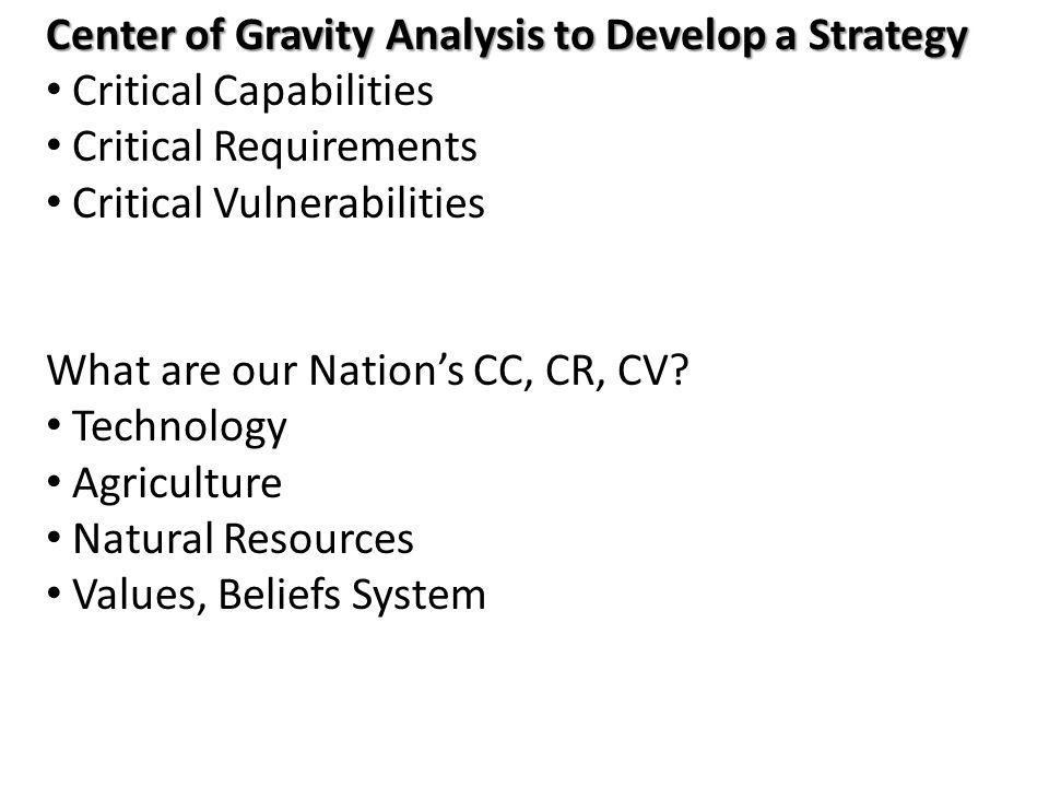 Center of Gravity Analysis to Develop a Strategy