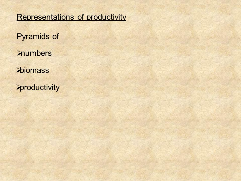 Representations of productivity