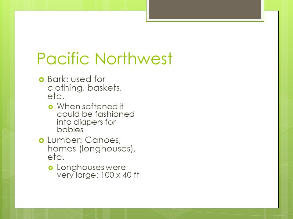 Pacific Northwest Bark: used for clothing, baskets, etc.