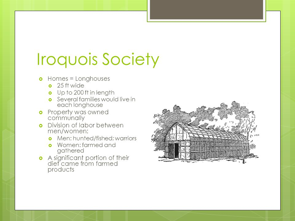 Iroquois Society Homes = Longhouses Property was owned communally