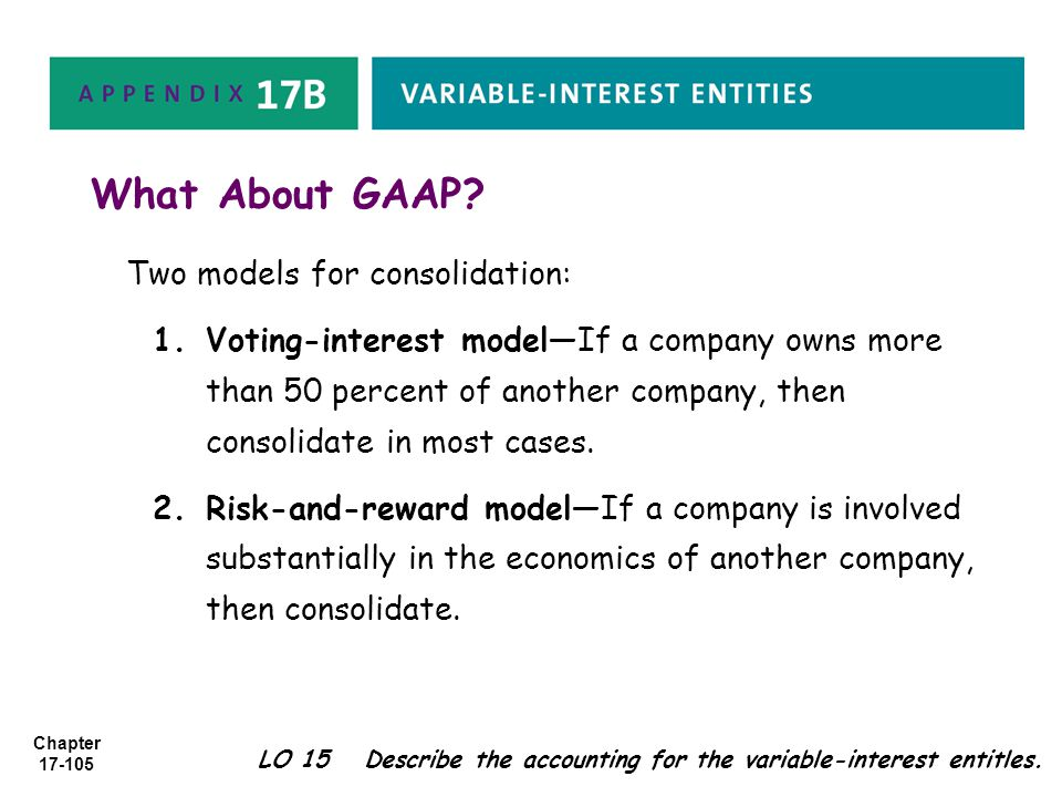 What About GAAP Two models for consolidation: