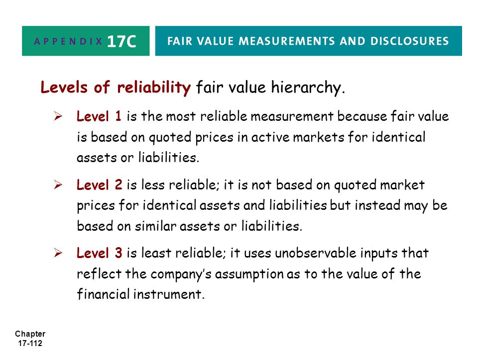 Levels of reliability fair value hierarchy.