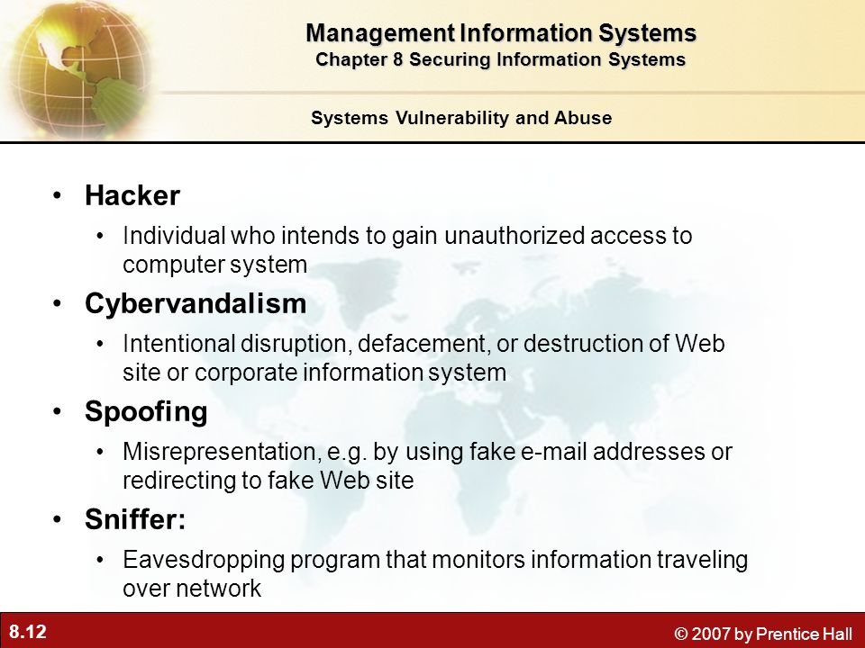 Hacker Cybervandalism Spoofing Sniffer: Management Information Systems