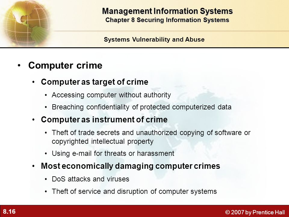 Computer crime Management Information Systems