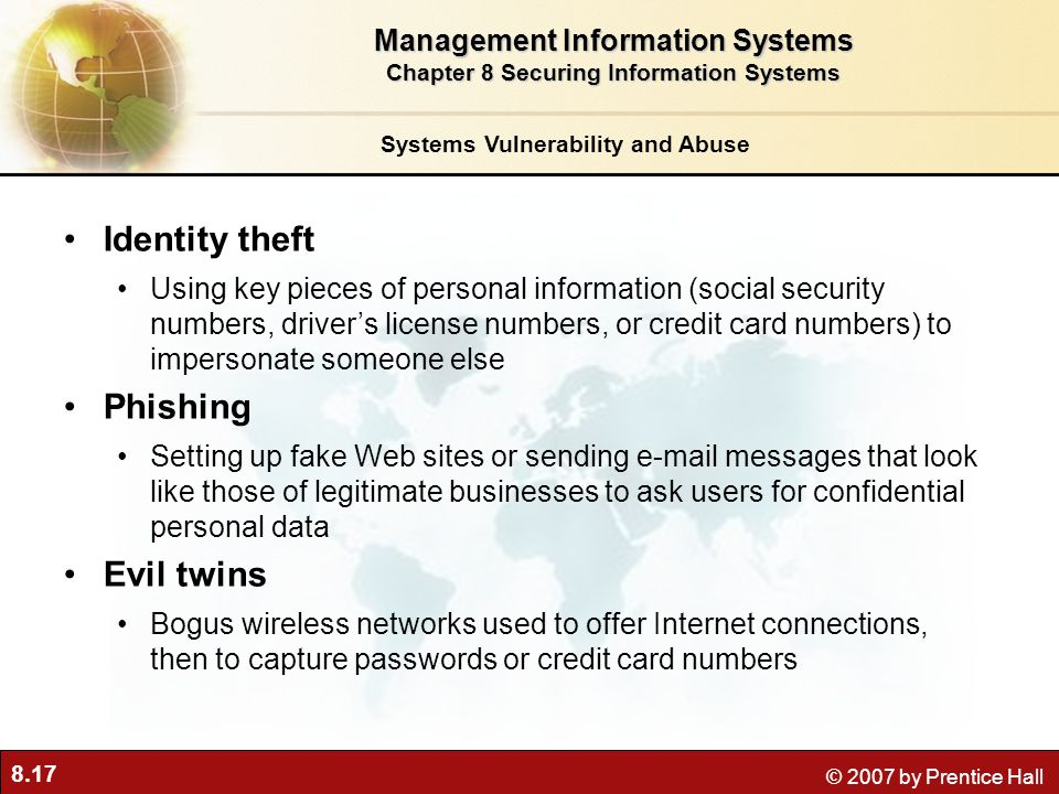 Identity theft Phishing Evil twins Management Information Systems