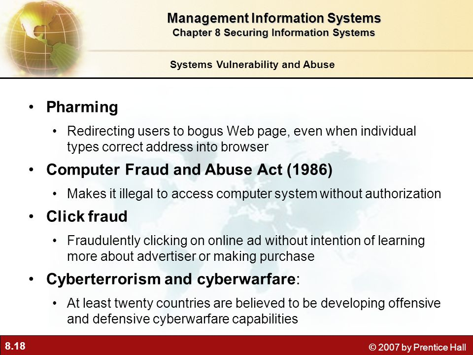 Computer Fraud and Abuse Act (1986) Click fraud