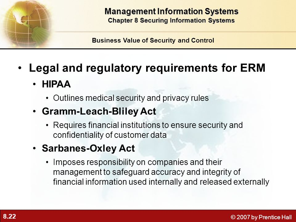 Legal and regulatory requirements for ERM