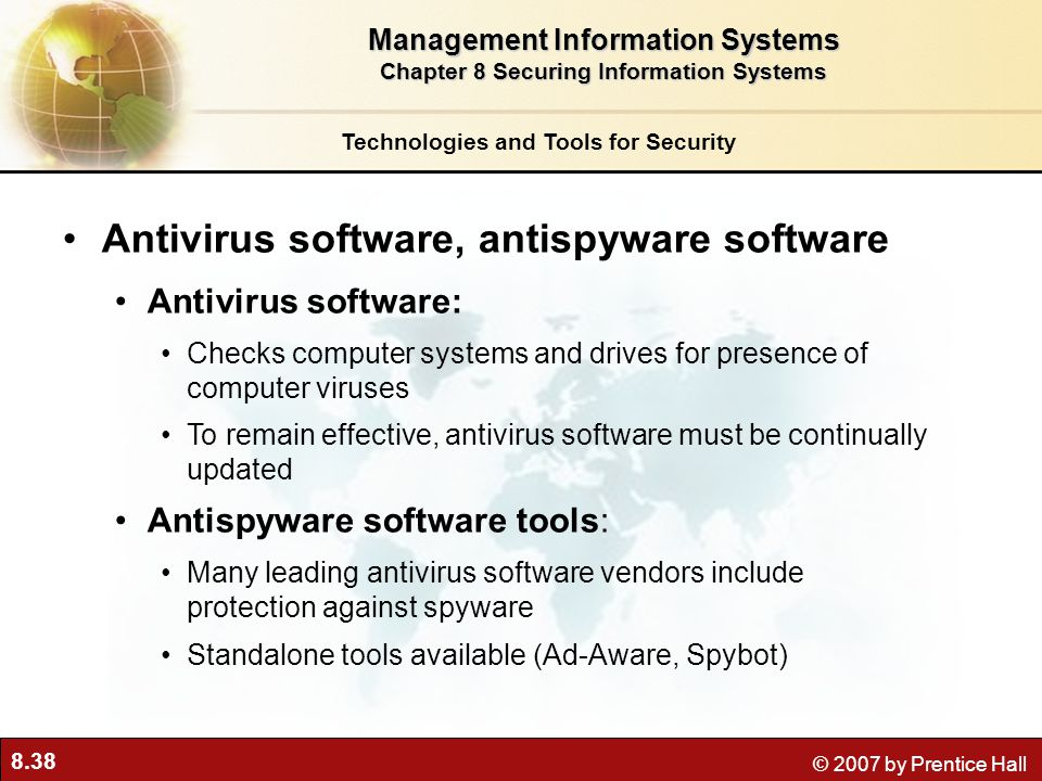 Antivirus software, antispyware software