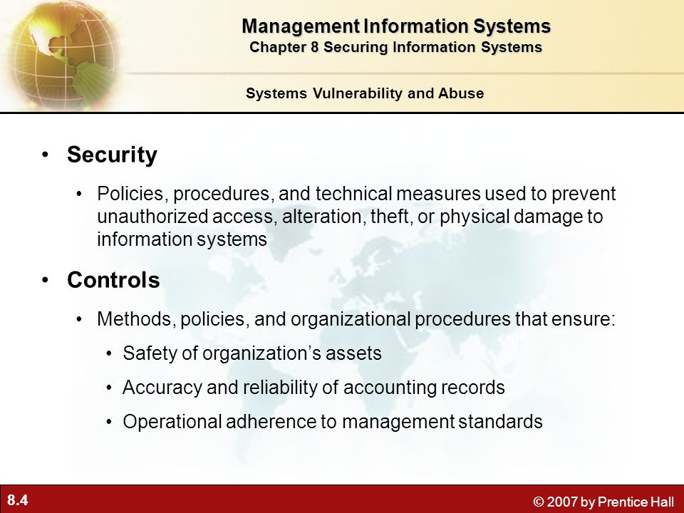 Security Controls Management Information Systems