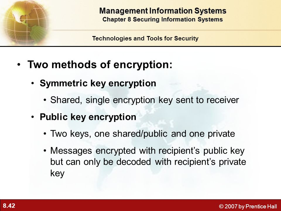 Two methods of encryption: