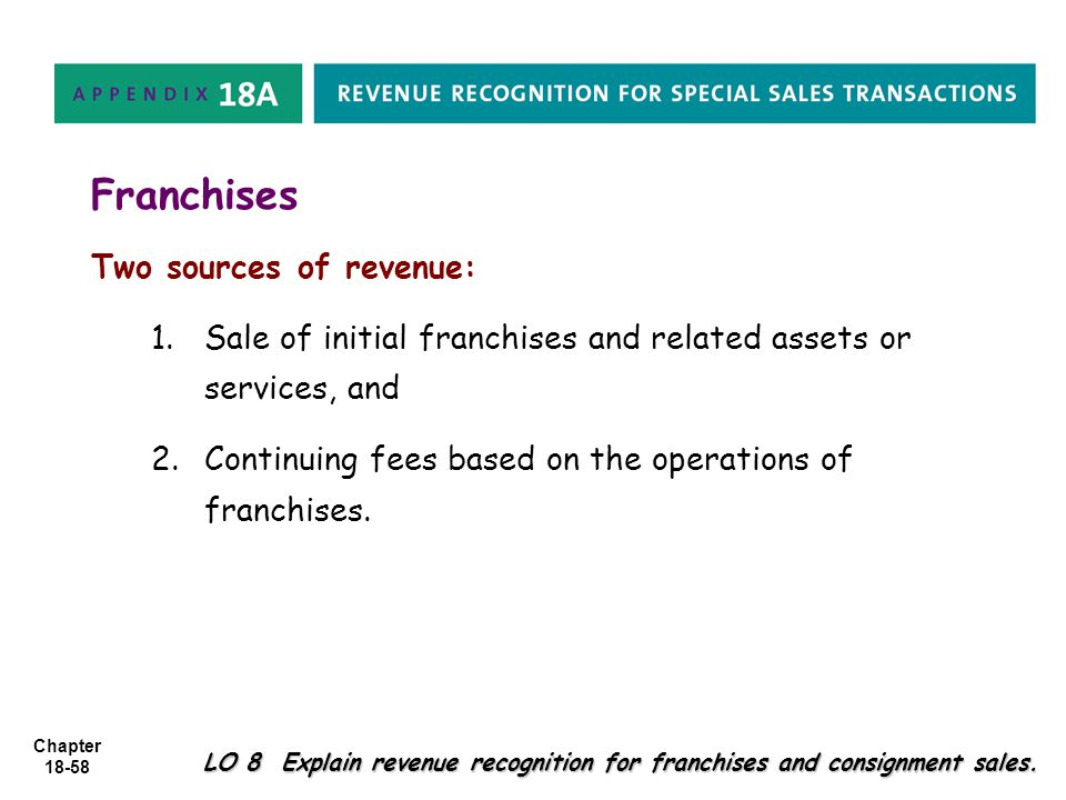 Franchises Two sources of revenue: