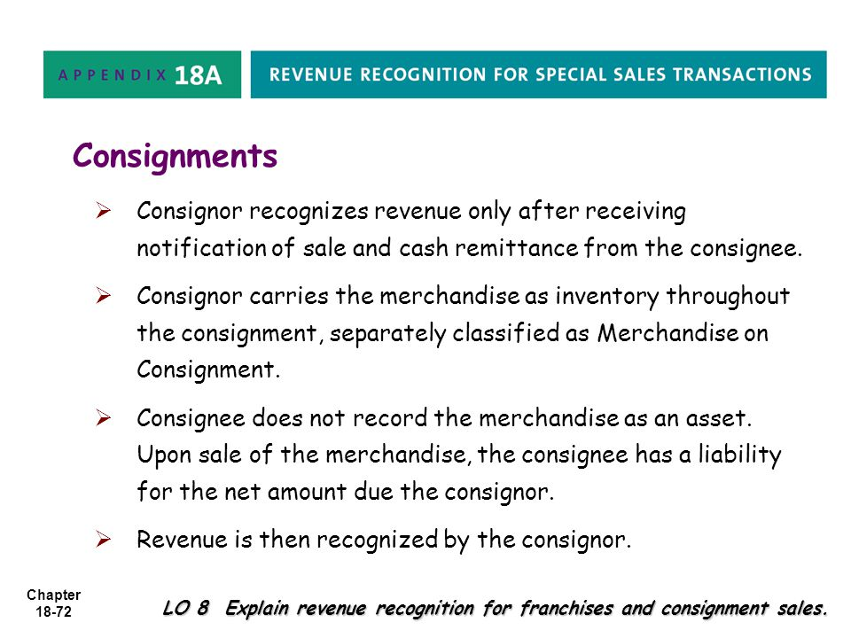 Consignments Consignor recognizes revenue only after receiving notification of sale and cash remittance from the consignee.
