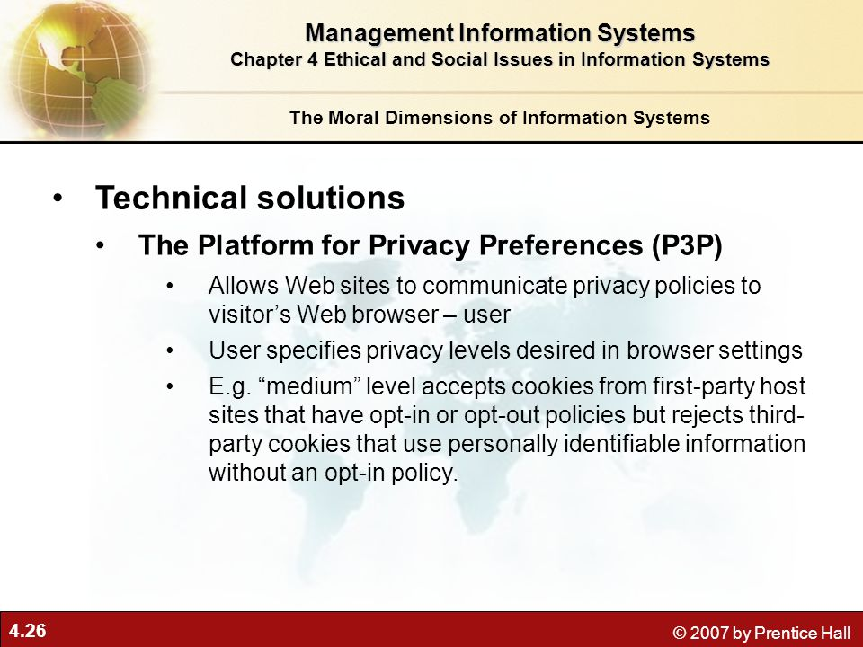 Technical solutions The Platform for Privacy Preferences (P3P)