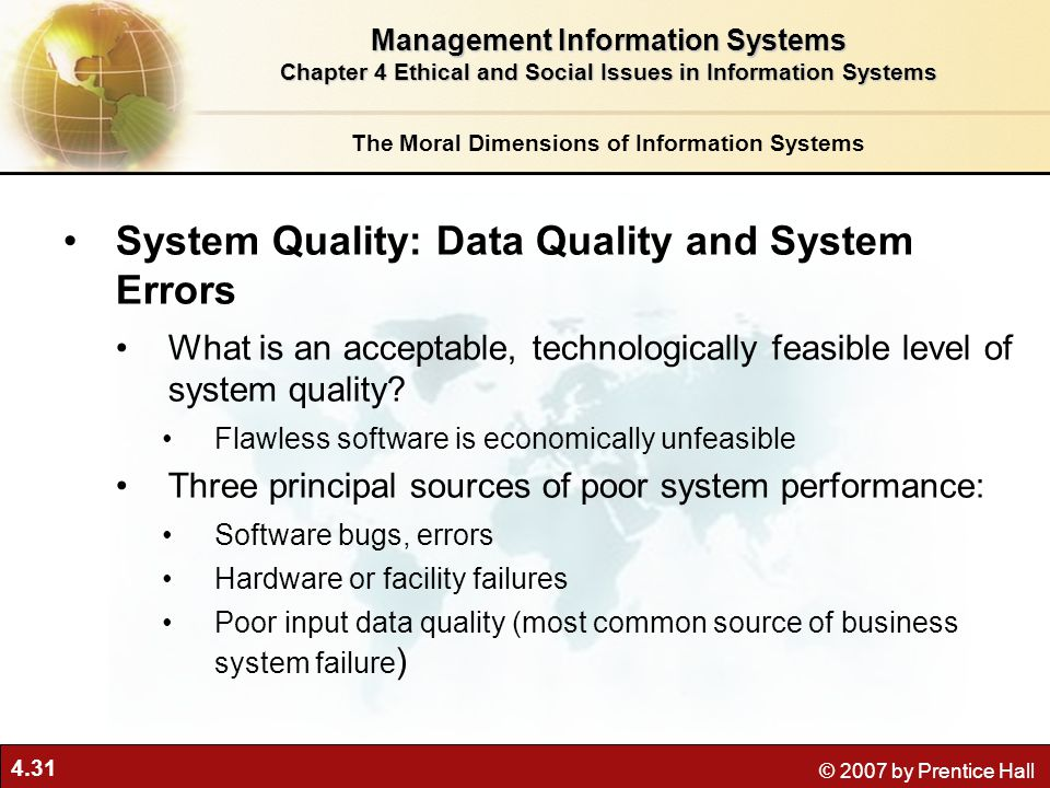 System Quality: Data Quality and System Errors