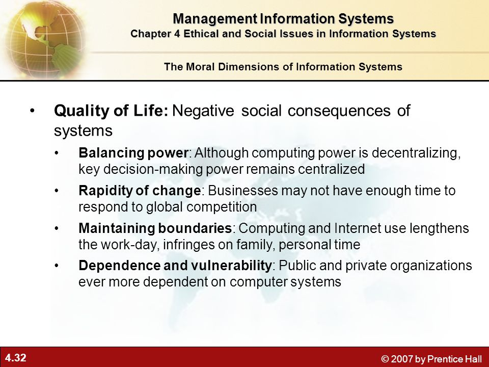 Quality of Life: Negative social consequences of systems