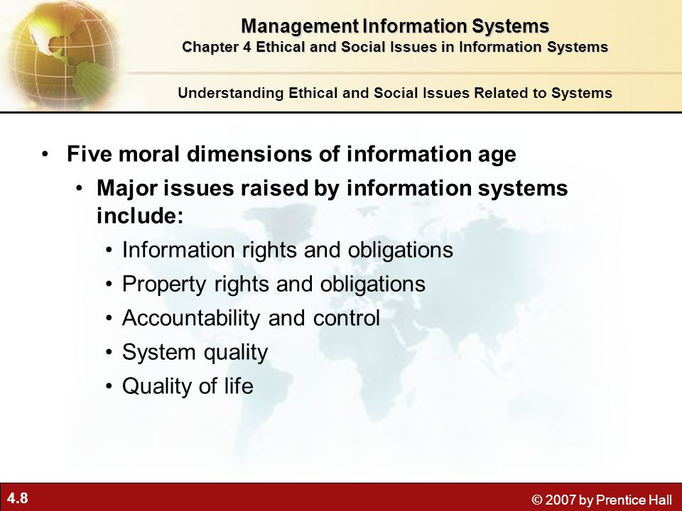 Five moral dimensions of information age