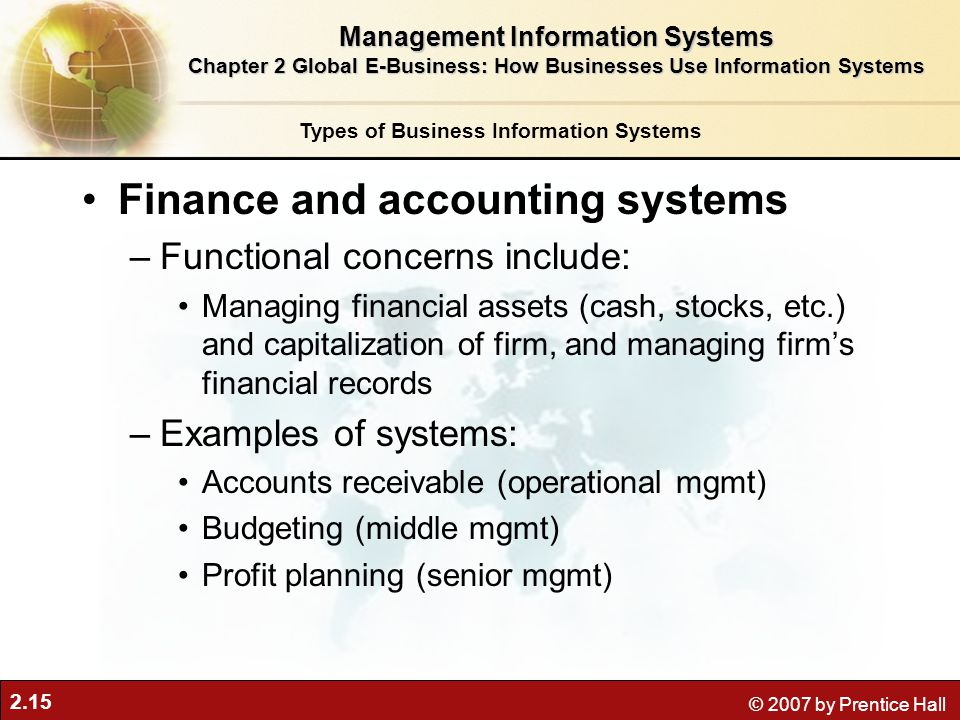 Finance and accounting systems