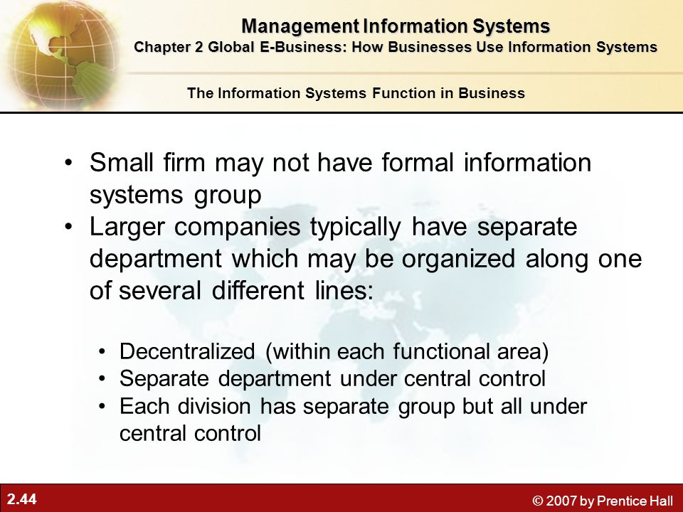 Small firm may not have formal information systems group