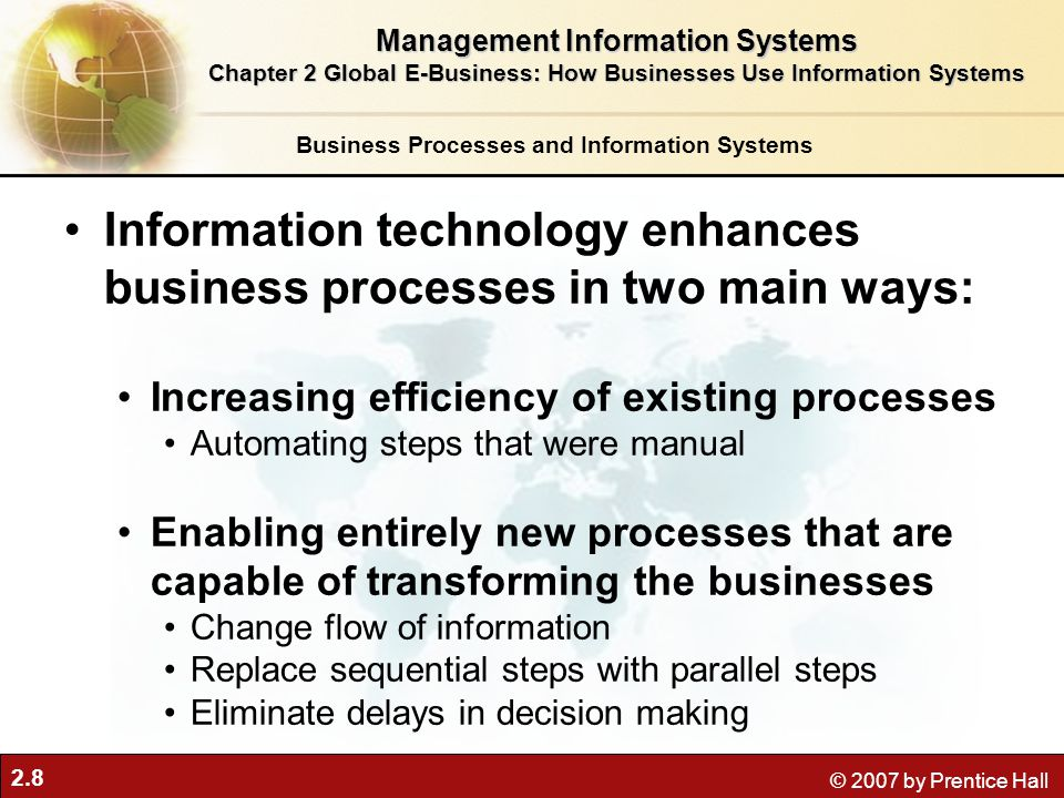 Information technology enhances business processes in two main ways: