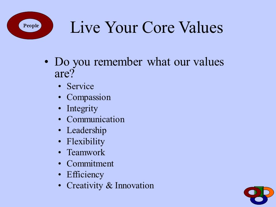 Live Your Core Values Do you remember what our values are Service