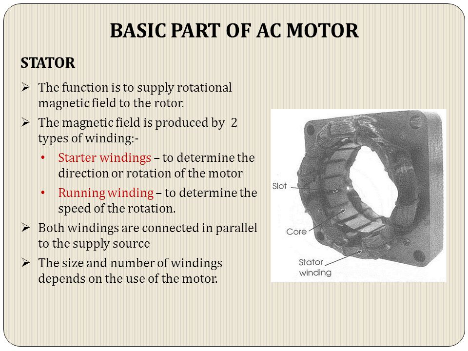BASIC PART OF AC MOTOR STATOR