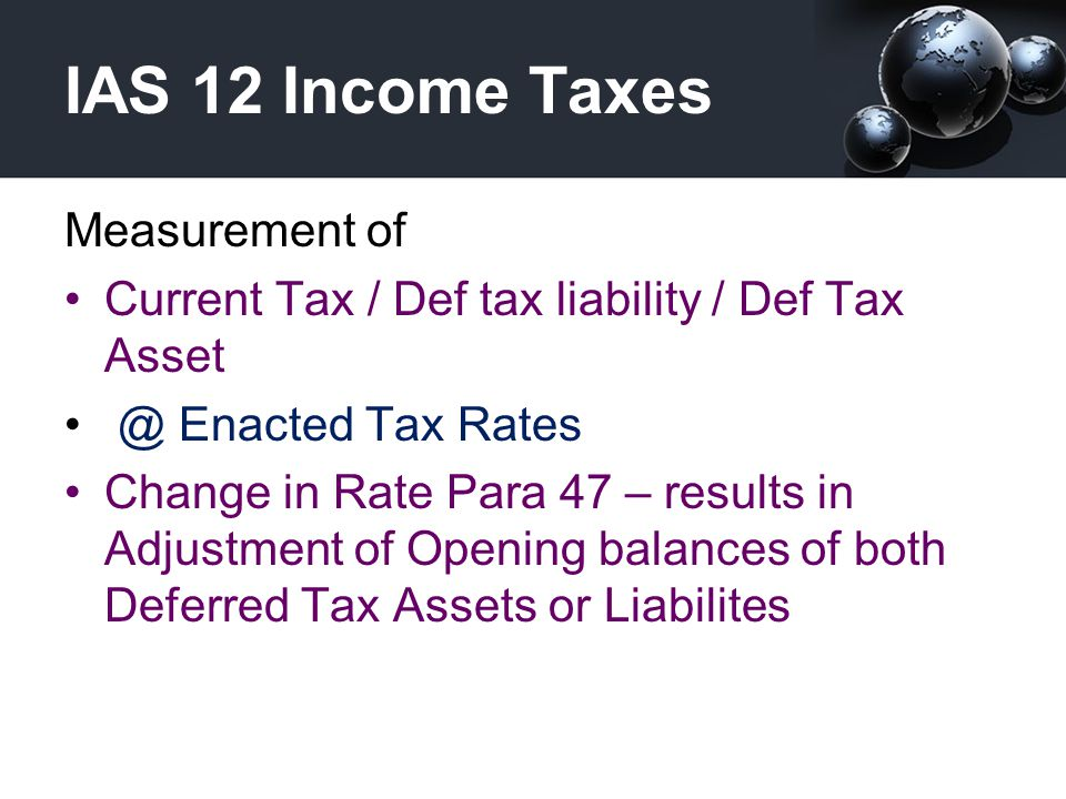 IAS 12 Income Taxes Measurement of