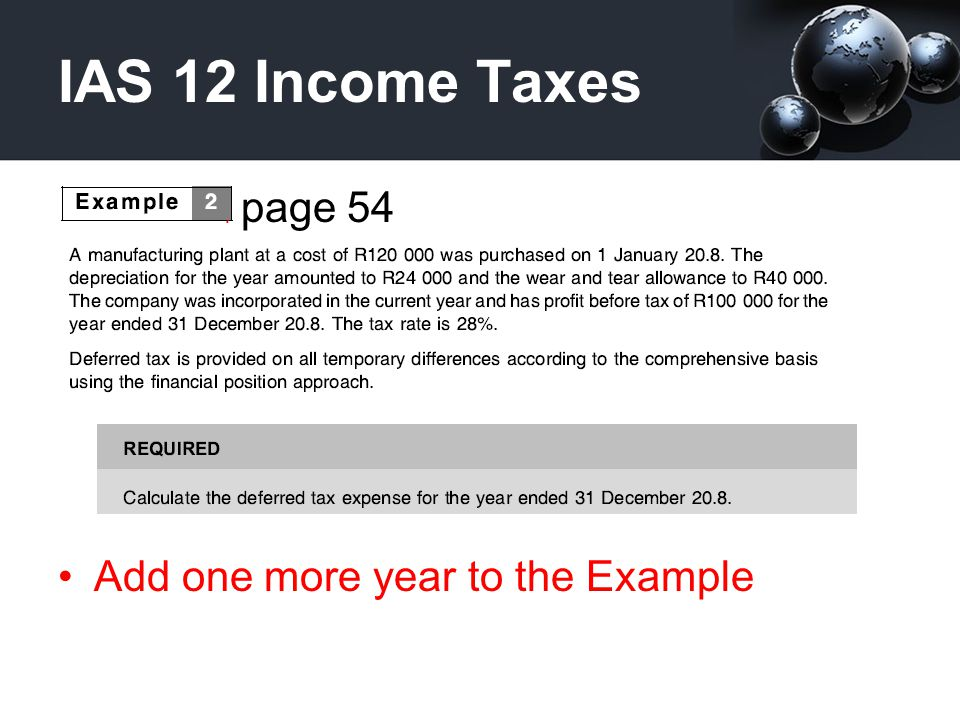 IAS 12 Income Taxes Pa page 54 Add one more year to the Example