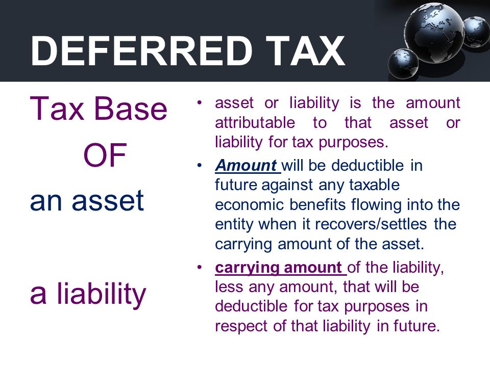 DEFERRED TAX Tax Base OF a liability an asset
