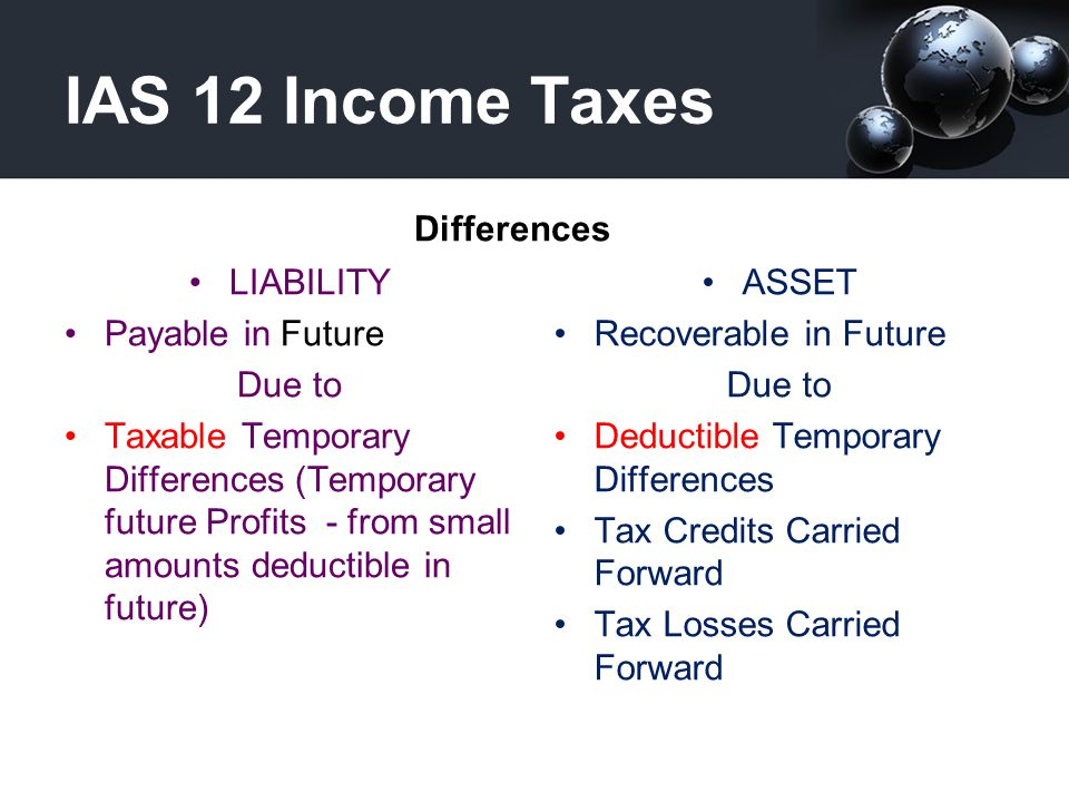 IAS 12 Income Taxes Differences LIABILITY Payable in Future Due to
