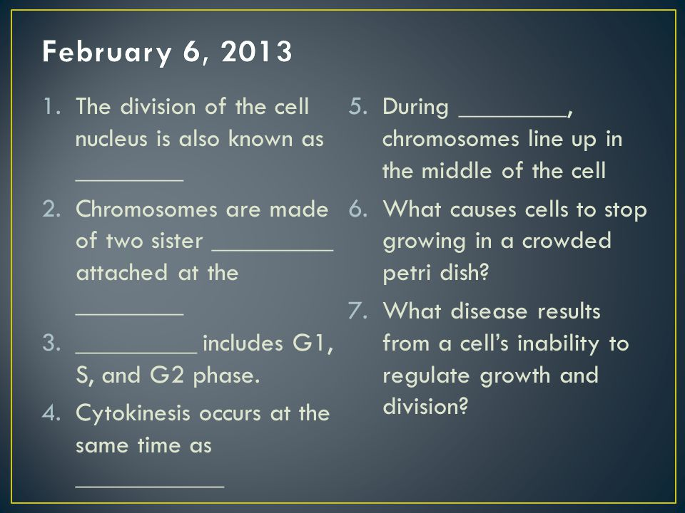 February 6, 2013 The division of the cell nucleus is also known as ________. During ________, chromosomes line up in the middle of the cell.