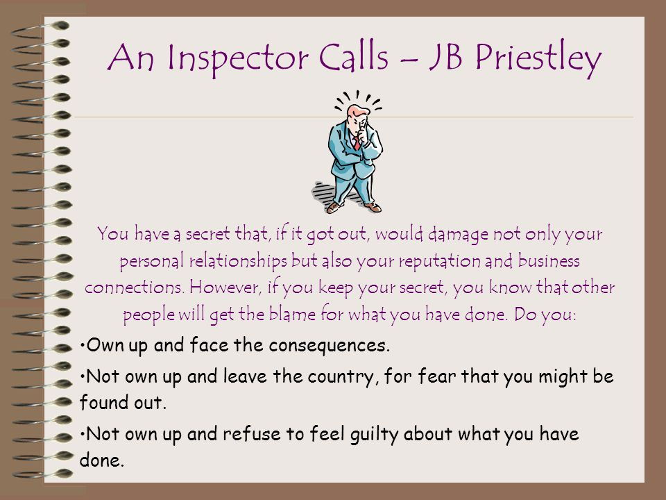 the role of the inspector in the play an inspector calls by jb priestley An inspector calls by jb priestley - study guide  casting - who would be  suited to the various roles set - what kind of stage set would work best for this  play.