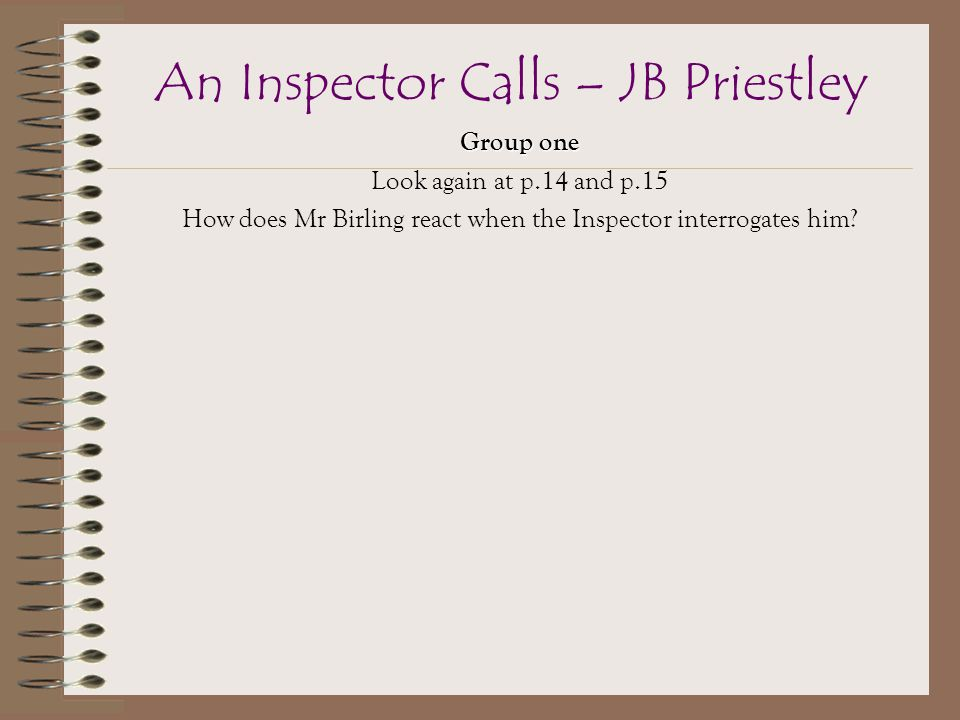 What is the role and purpose of the inspector in Priestley's 'An inspector calls'?