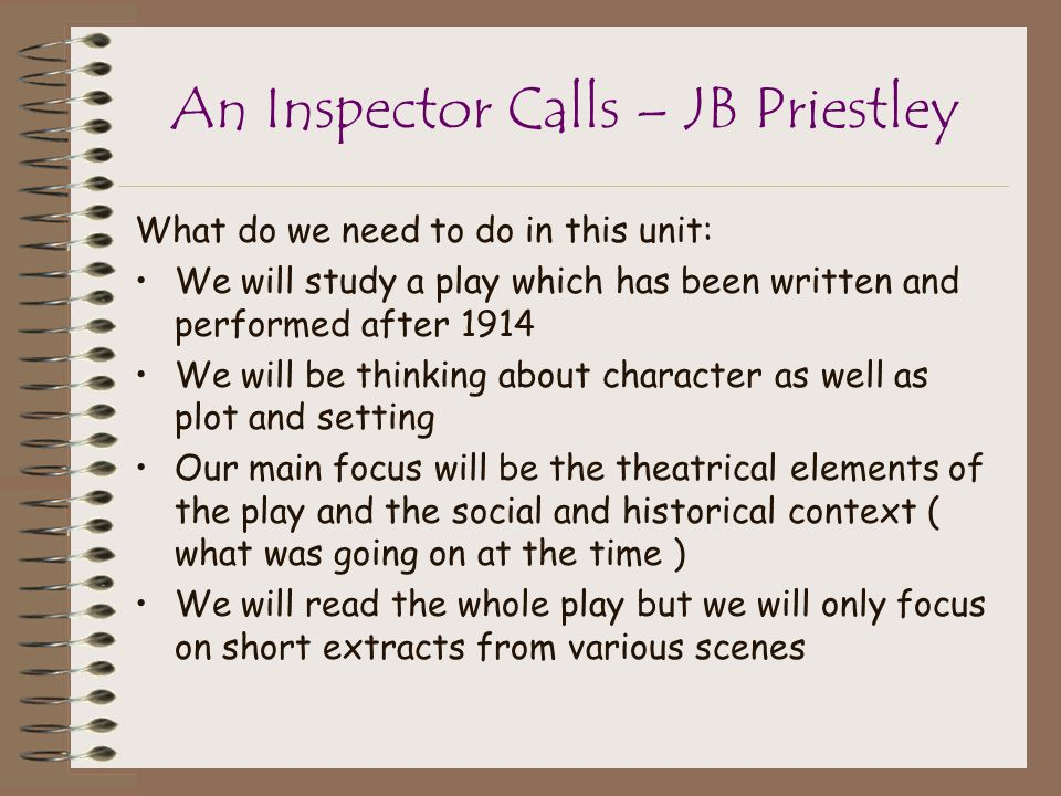a plot overview of the play an inspector calls An inspector calls:  there is no sub-plot the play takes place in just one location, the action is continuous  quick summary act i.