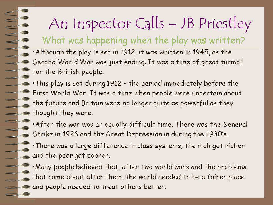 an inspector calls issues and priestlys An inspector calls by jb priestley interpretation the play an inspector calls is used by jb priestley as a door to b priestley - interpretation - inhaltsangabe.
