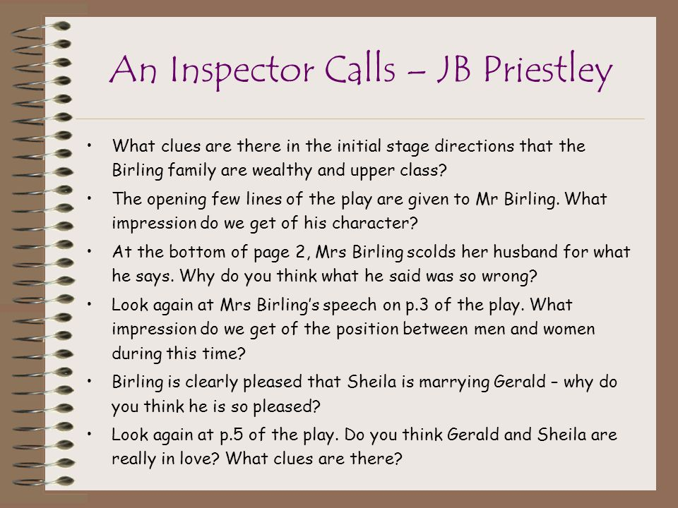 an inspector calls act one essay A free english literature essay on an inspector calls, by jb priestly this essay can help with gcse  an inspector calls was written by jb  in act 1, he .