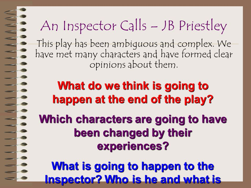 why is the inspector calls successful Transcript of an inspector calls 1: writing successful  objectives an inspector calls 1: writing successful paragraphs  an inspector calls.