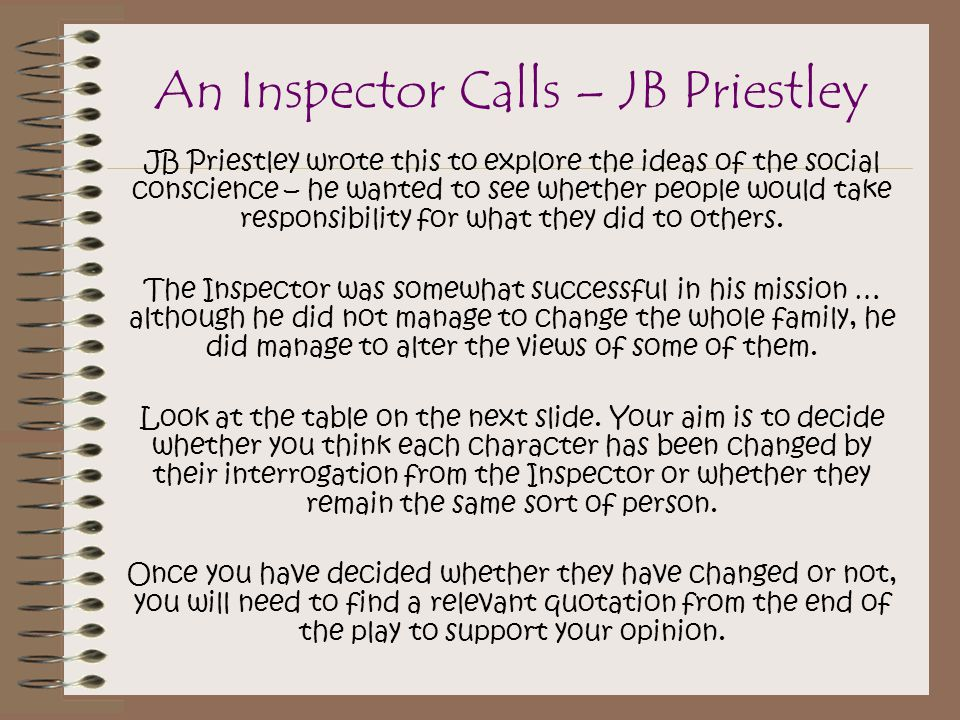 essay on an inspector calls by jb priestley An inspector calls essay an inspector calls is full of lies and deceit how does jb priestley express his views on social resonsibility in an inspector calls.