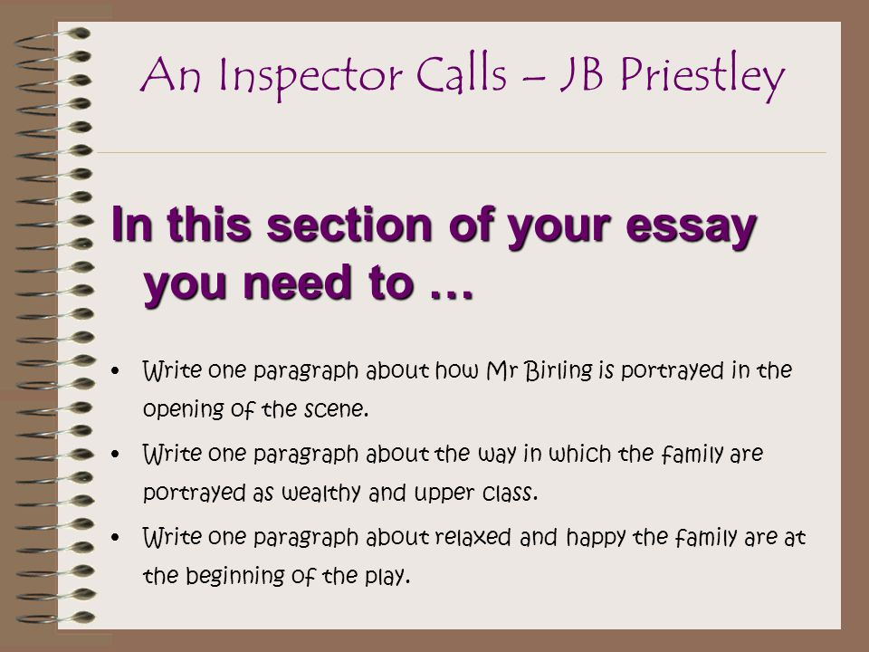 an inspector calls 7 essay Home → sparknotes → drama study guides → an inspector calls 7 write the conclusion indicate the shape of the essay to come.