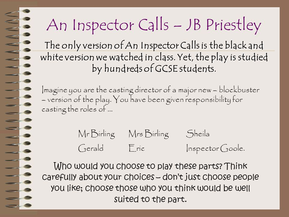 gcse english an inspector calls coursework This is from a series of posters i made for revision of the characters in an inspector calls they each display quotes that would be useful to revise for the gcse exam.